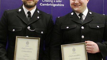 Police Constable's Lewis Busby and Harry Howe were commended for their actions to save a man's life