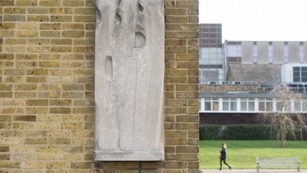 Barbara Hepworth sculpture Vertical Forms at the University of Hertfordshire in Hatfield. The artwor
