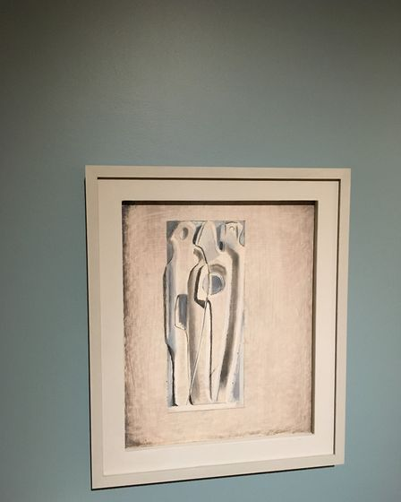 Painting Three Figures - Project for Sculpture - a presentation sketch for Vertical Forms - can be s
