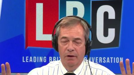 """Nigel Farage has claimed there are """"no facts at all"""" in the Yellowhammer documents. Picture: LBC"""
