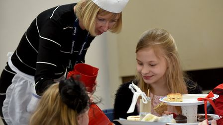 First class afternoon tea at Peckover School as pupils learn about Titanic. Picture: IAN CARTER.