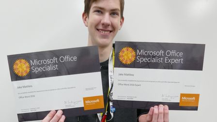 Jake Mattless, a College of West Anglia (CWA) computing student from Wisbech, scored 100 per cent in