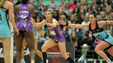 Saracens Mavericks' Georgia Lees in action against Surrey Storm in the Netball Superleague. Picture: