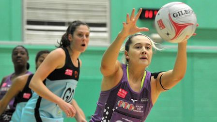 Saracens Mavericks' George Fisher in action against Surrey Storm in the Netball Superleague. Picture
