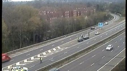 Police dealt with a crash on the A1(M) near Welwyn Garden City this morning. Picture: Highways Eng