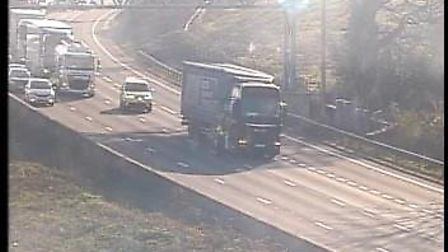 A lorry has broken down on the M25 near Potters Bar. Picture: Highways England
