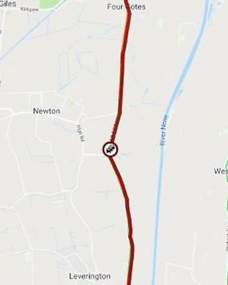 """Cambs Travel News tweeted: """"A1101 at Wisbech large delays of over an hour southbound heading into Wi"""