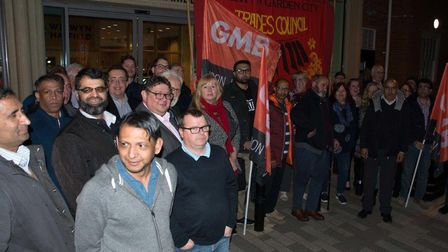 Taxi drivers, union representatives and Labour party campaigners protested outside Welwyn Hatfield C