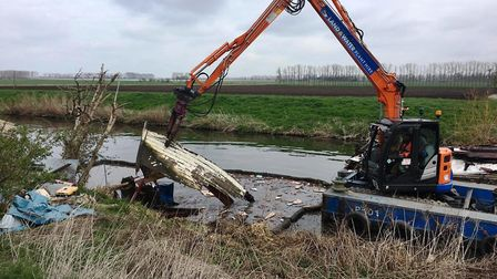 Sad ending foir Dunkirk boat Compass Rose after the wreckage of it was removed from the River Lark i