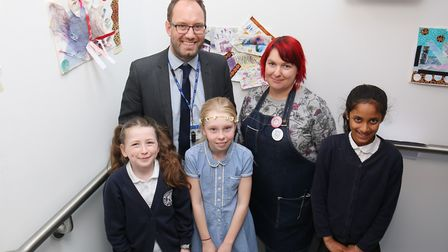 Digswell Primary School assistant head James Sadler with year six pupils at Digswell Art Trust after