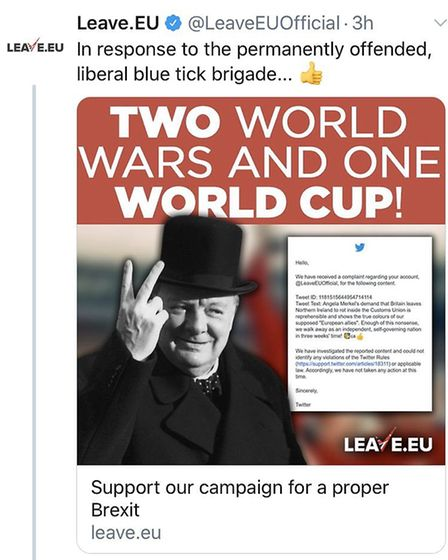 Leave.EU responded to the initial backlash with this tweet. Photograph: Twitter.