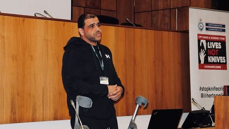 Herts police organised a talk about the effects of knife crime at the University of Hertfordshire. P