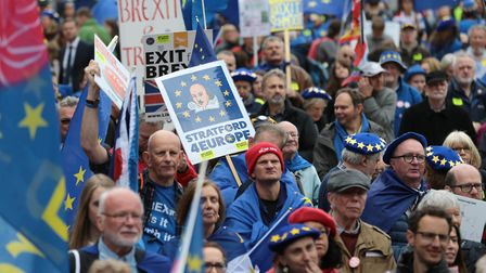 Supporters of Best for Britain and EU for Brum, during a 'Bin Brexit' rally in Victoria Square in th