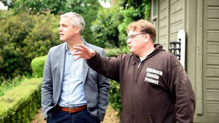 Cllr Steve Tierney (right) explaining to MP Steve Barclay some of the improvements last year to Wisb