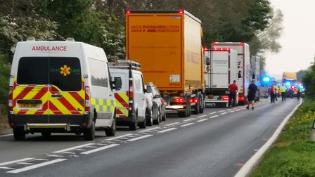 The scene on the A47 between Wisbech and Guyhirn where two were hospitalised following a crash betwe