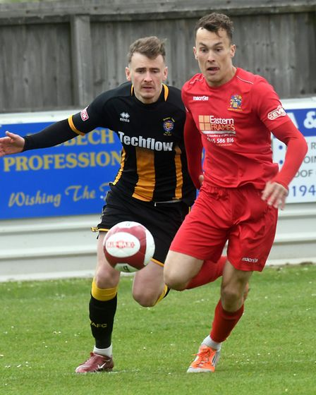 Action from Wisbech Town's clash with champions Morpeth. Picture: IAN CARTER