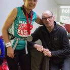Melody McLaren with her husband Ian after she ran the 2015 London Marathon for The National Brain Ap