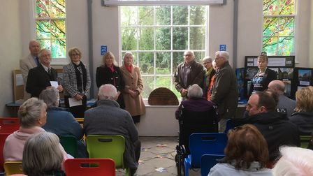 Unveiling a plaque to commemorate work completed on the chapel at Wisbech General Cemetery., Picture