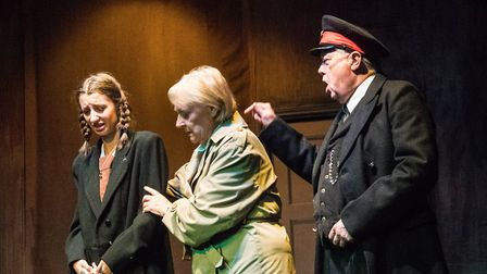 Alice Park as Eva, Maureen Davies as Lil, and Ray Newton as Station Guard in Kindertransport at the