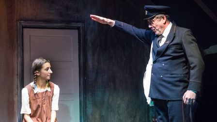 Alice Park as Eva and Pete Dawson as Postman in Kindertransport at the Barn Theatre in Welwyn Garden