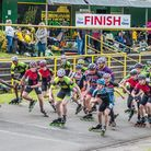 The mass start for the 5k & 10k men and women and mens races. Wisbech Inline Speed Skaters. Picture: