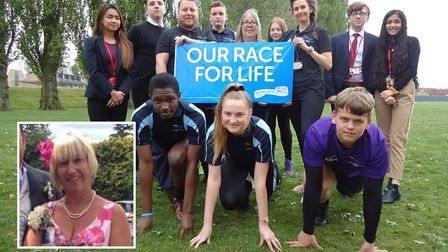 Staff and pupils at Thomas Clarkson Academy who are running this years Race for Life in memory of th