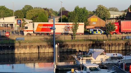 Lorry blocks Freedom Bridge in Wisbech causing delays. Picture: CAMBS POLICE.
