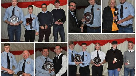 Award winners collecting their prizes at the Wisbech Rugby Club Awards 2019 in front of a 100-plus a