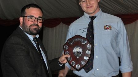 Solomon Prestidge (R) awarded the 1st XV Playe of the Year - Award winners collecting their prizes a