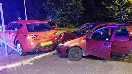 A number of people taken to hospital after a two vehicle crash on the A47 at Guyhirn roundabout. Pic