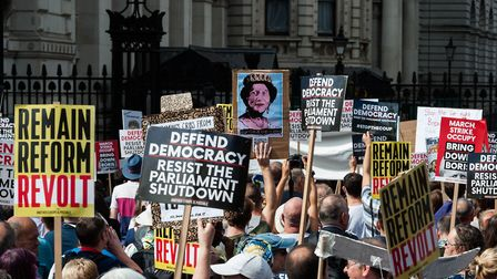Thousands of demonstrators gather outside Downing Street to take part in Stop the Coup protests. (Ph