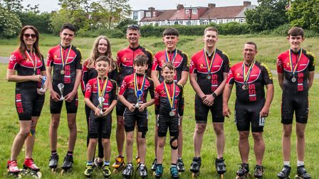 The Wisbech Inline Speed Skaters racing at Tatem Park in London on Sunday (May 19). Back row L-R Jo