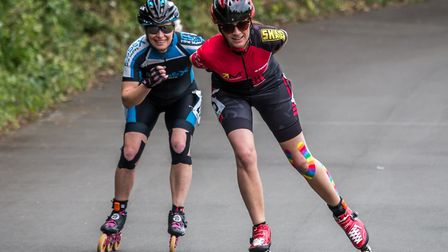 Members of the Wisbech Inline Speed Skaters racing at Tatem Park in London on Sunday (May 19). Pictu