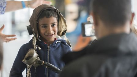 Hands-on activities at the Duxford Air Festival allow children to learn about aviation and engineeri