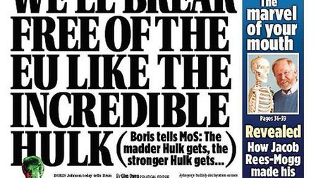Boris Johnson compared Brexit strategy to the Hulk. Photograph: Twitter.