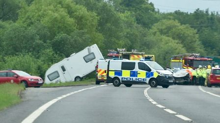 Two people have been injured in crash near Wisbech which closed part of the A47. Picture: SUBMITTED.