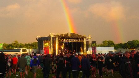 A rainbow over the Punk in Drublic stage at Slam Dunk Festival South in Hatfield. Picture: Eddy Mayn