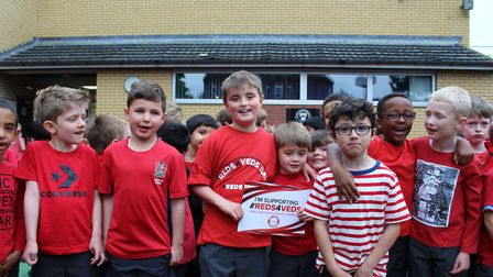 Pupils celebrate the day. Picture: St Colomba's College