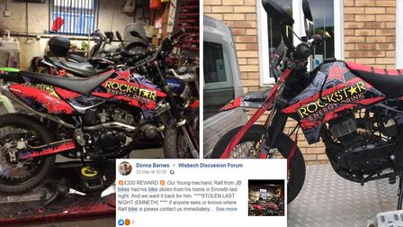 The stolen motorcycle (pictured) after it was located thanks to the power of Facebook. The plea to f