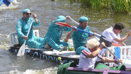 Splash! The annual Outwell Raft Race 2019. Picture: IAN CARTER