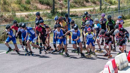 Lucy and Flynn in the half marathon. Wisbech Inline Speed Skaters travelled to London for the Europe