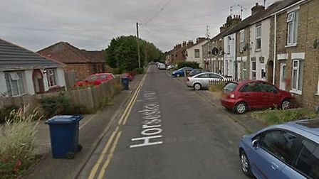 Horseshoe Terrace in Wisbech where arsonists torched a motorcycle 'in the middle of the road'. Pictu