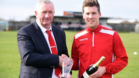 Wisbech Town chairman Paul Brenchley made a presentation to Jon Fairweather ahead of his 400th appea