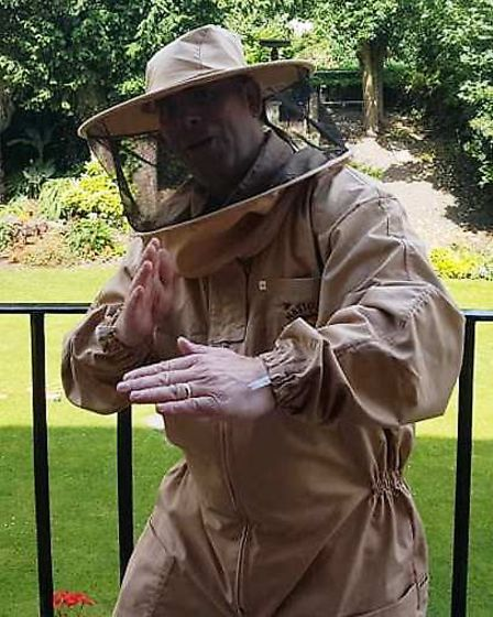 Cllr Andrew Lynn modelling a beesuit at Wisbech Castle. Picture: FACEBOOK/WISBECH CASTLE