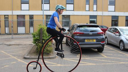 Penny Farthing cycle challenge: Beverley Wakefield is pictured on board the Penny Farthing. Picture: