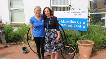 Penny Farthing cycle challenge: Beverley Wakefield IS congratulated by one of her consultants Dr Nic