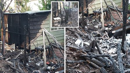 The aftermath of the fire at Ian Edrupts home in Wisbech which saw his garden shed go up in flames.