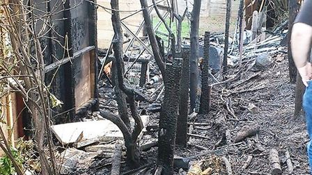The aftermath of the fire at Ian Edrupt's home in Wisbech which saw his garden shed go up in flames.