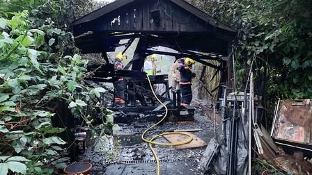 Blaze destroys shed in the grounds of Wisbech's oldest house. Picture: CAMBS FIRE