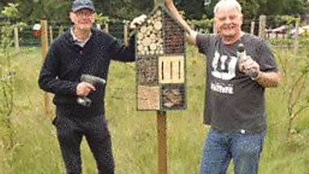 Stuart Burton (left) and Peter Freeman assisted with the sighting of a bug hotel in Wisbech. Picture